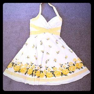 1950's style flower print halter dress
